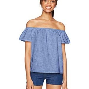 Levi Off Shoulder Chambray Button Down Back Top